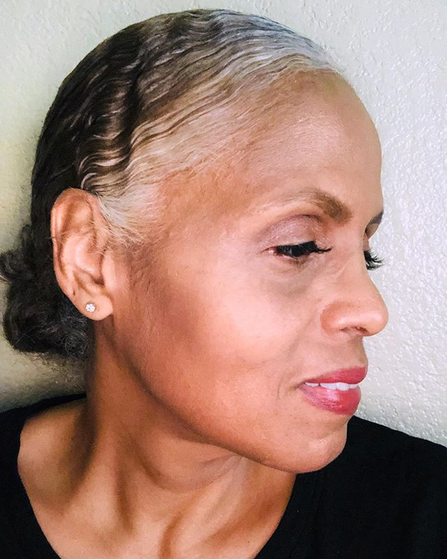 """After a rough patch in my marriage I decided to embrace my natural hair color. I went relaxer free about 20 years ago so color free was my next step to embrace my true self. It's funny once I made the decision I felt so free but also a bit disappointed because I took so long to do it. My ""white"" front is just gorgeous and all this time I covered it with more colors than I truly remember until I see an old picture. I'm so excited and I can't wait to see my end result.. I'm thinking a cute bob or maybe shoulder length. Currently my length is mid back when flat iron but I'm not sure that I will grow it that long once I chop my dark blonde ends. Time will tell! I'm so amazed at all of the beautiful grey/silver haired ladies on @grombre. It's so inspirational. Silver is Golden!👩🏽‍🦳 "" @tillotsunny_j #grombre #gogrombre"