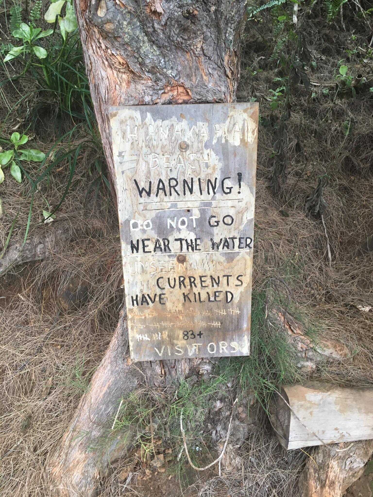 basically, do not go near the water at hanakapiai beach