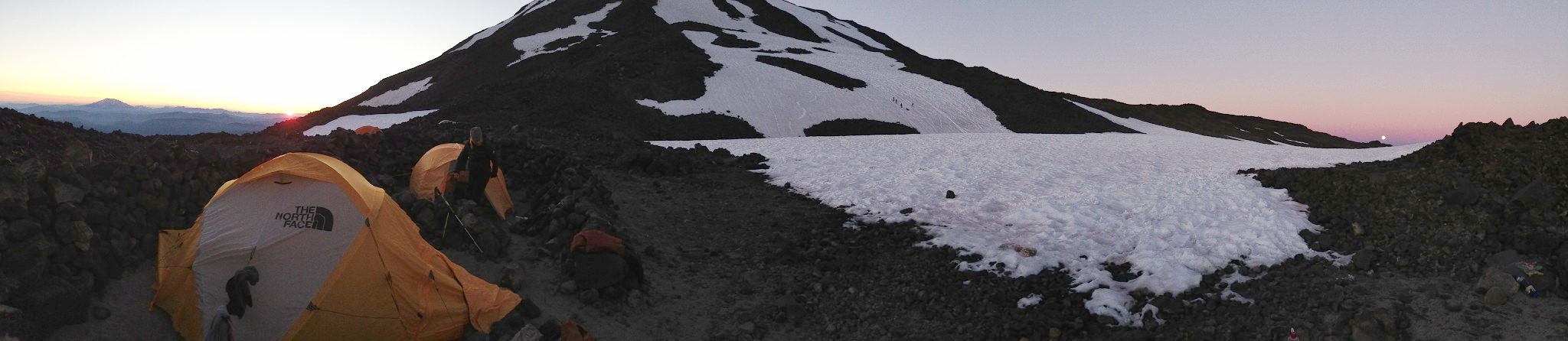Simultaneous sunset and moonrise at basecamp 2013