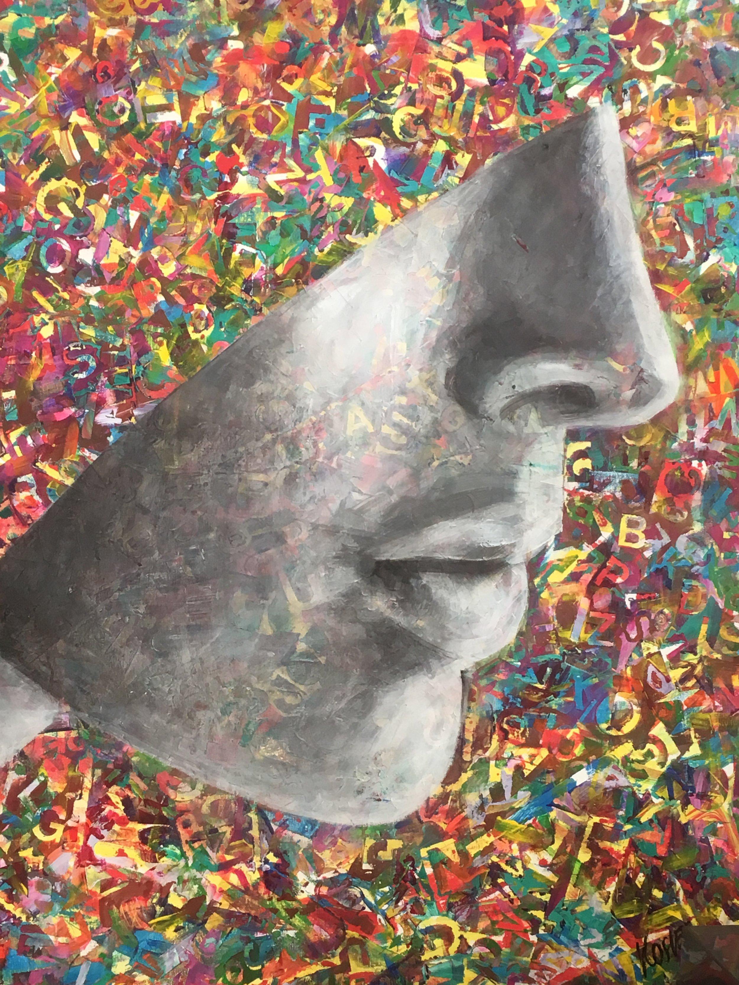 """Detalj från en målning av Gosia Kosiec, som jag är lycklig ägare till.Den heter """"The Hood"""". Jag älskar den omåttligt."""