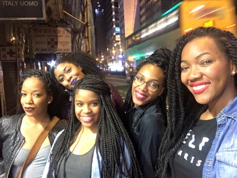 Black Girl Magic with bold lipstick in Hong Kong                                   (From Left to Right: Chrisy Jai, Dye, Jennifer (Me), Dana, and Britta)