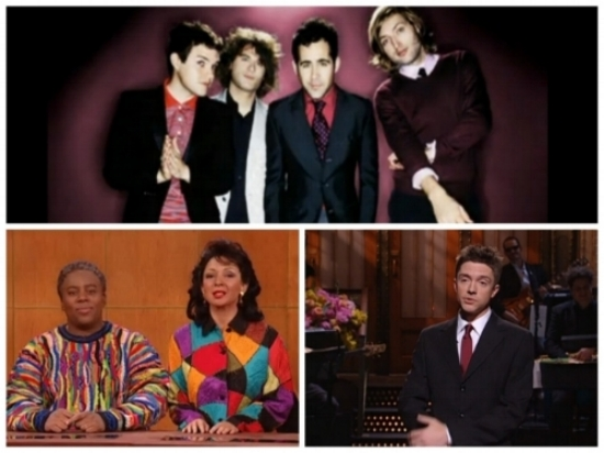 The Killers portrait for their SNL debut. Keenan and Maya on Weekend Update as Cliff & Clair Huxtable. Topher's opening monologue.