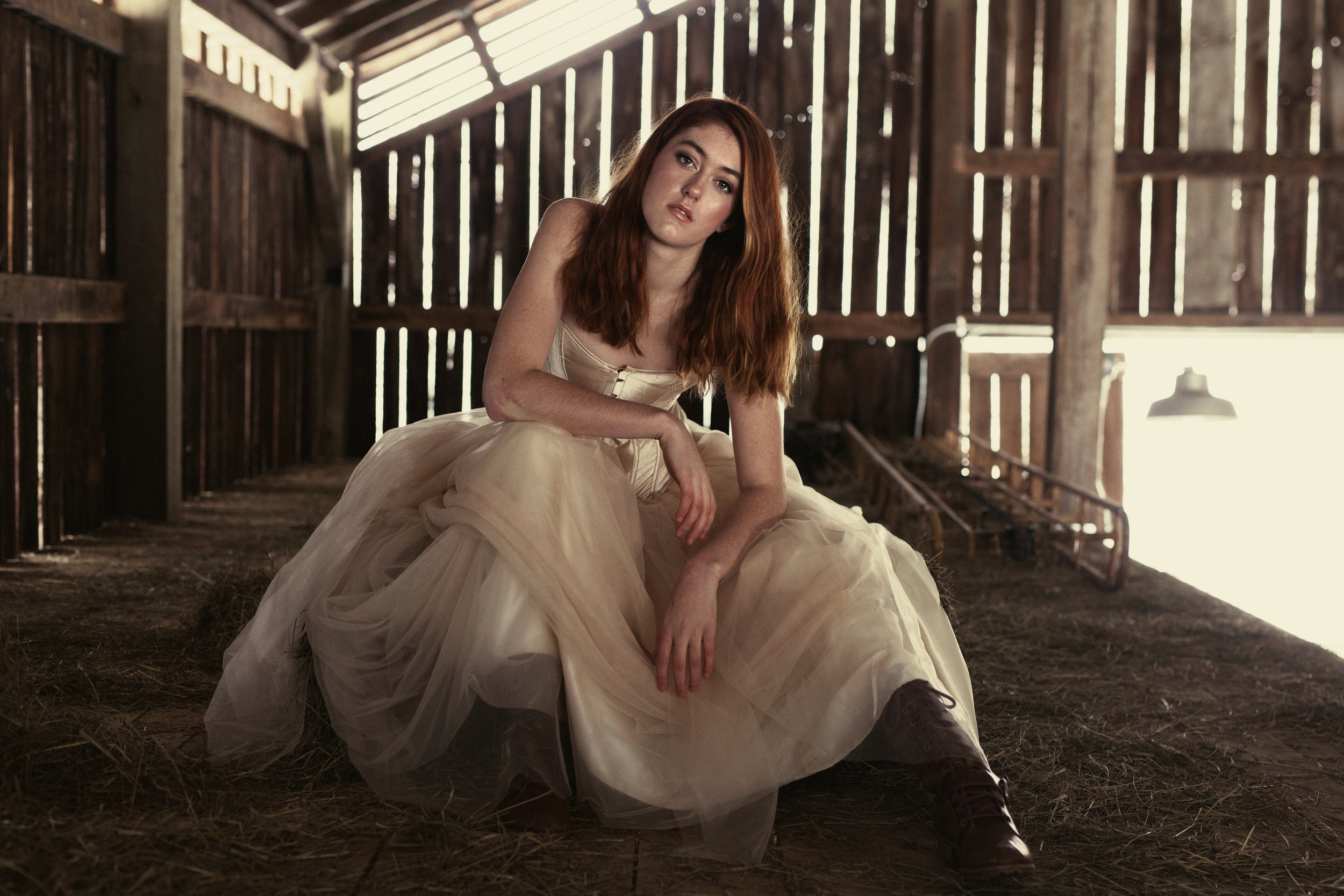 fashion and magazine style photo shoot in a wnc barn