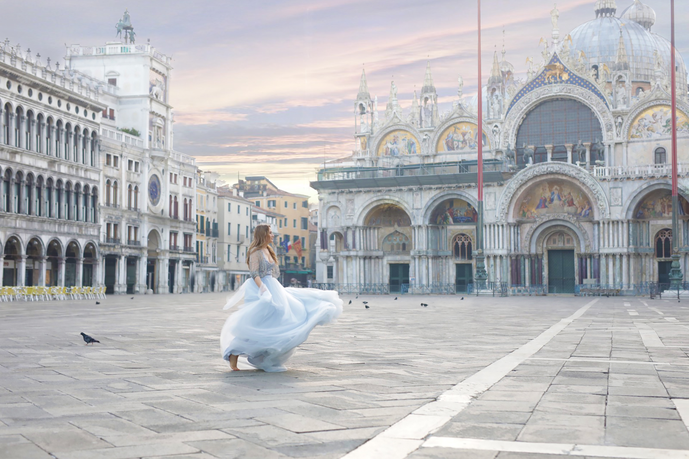Lenka in San Marco Square, Venice, Italy 2018 at dawn