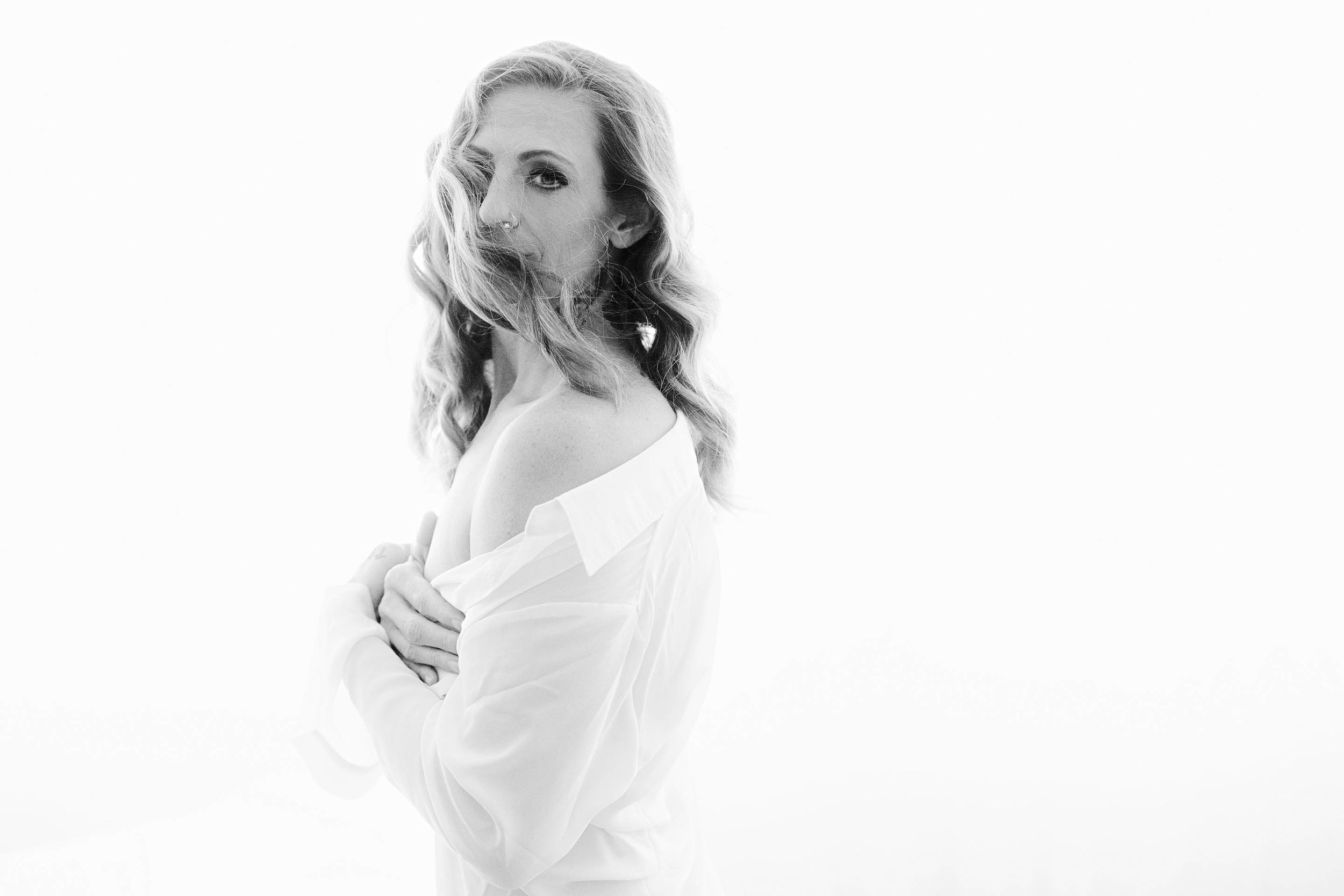 white shirt boudoir - backlighting - beautiful - unique boudoir photography in Asheville