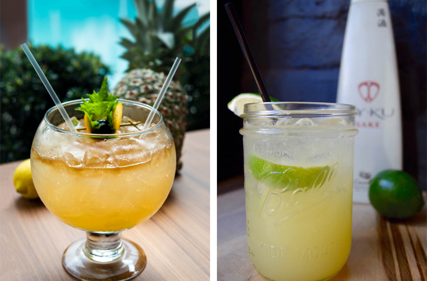 ( From left to right: Mai Tai for Two at Blue Ribbon Sushi Bar & Grill at The Plymouth; La Playa Especial at Black Tap )