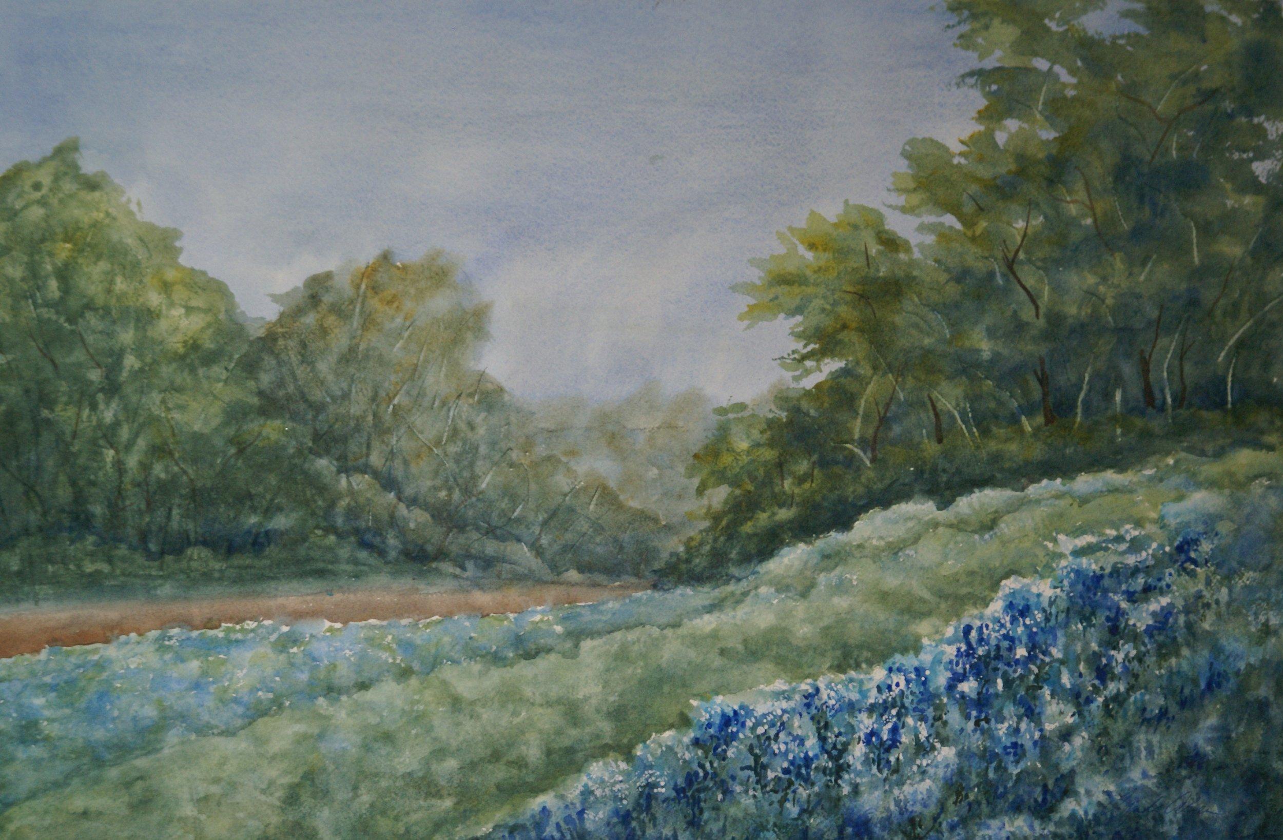 """""""Bluebonnets"""" $695 framed"""