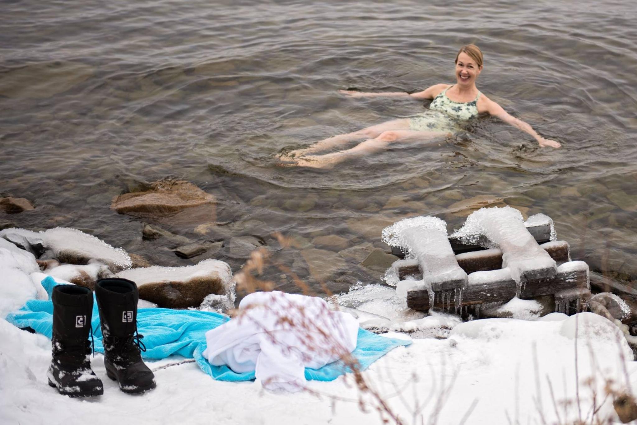 Crazy frozen lake swimmer!