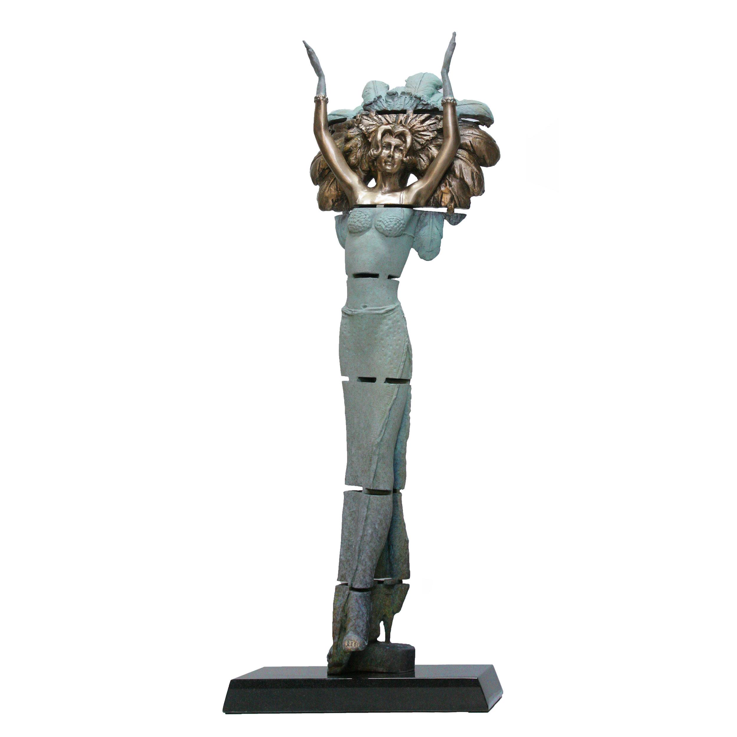 Carlotta Marquette Bronze on Black Granite 85 cms High
