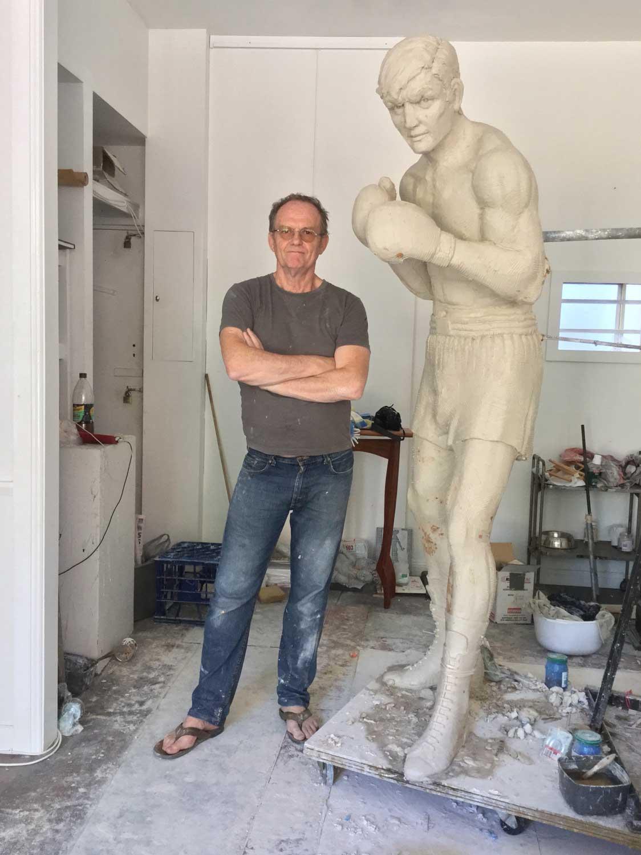 Johnny Famechon Sculpture clay masterwith sculptor Steve Glassborow