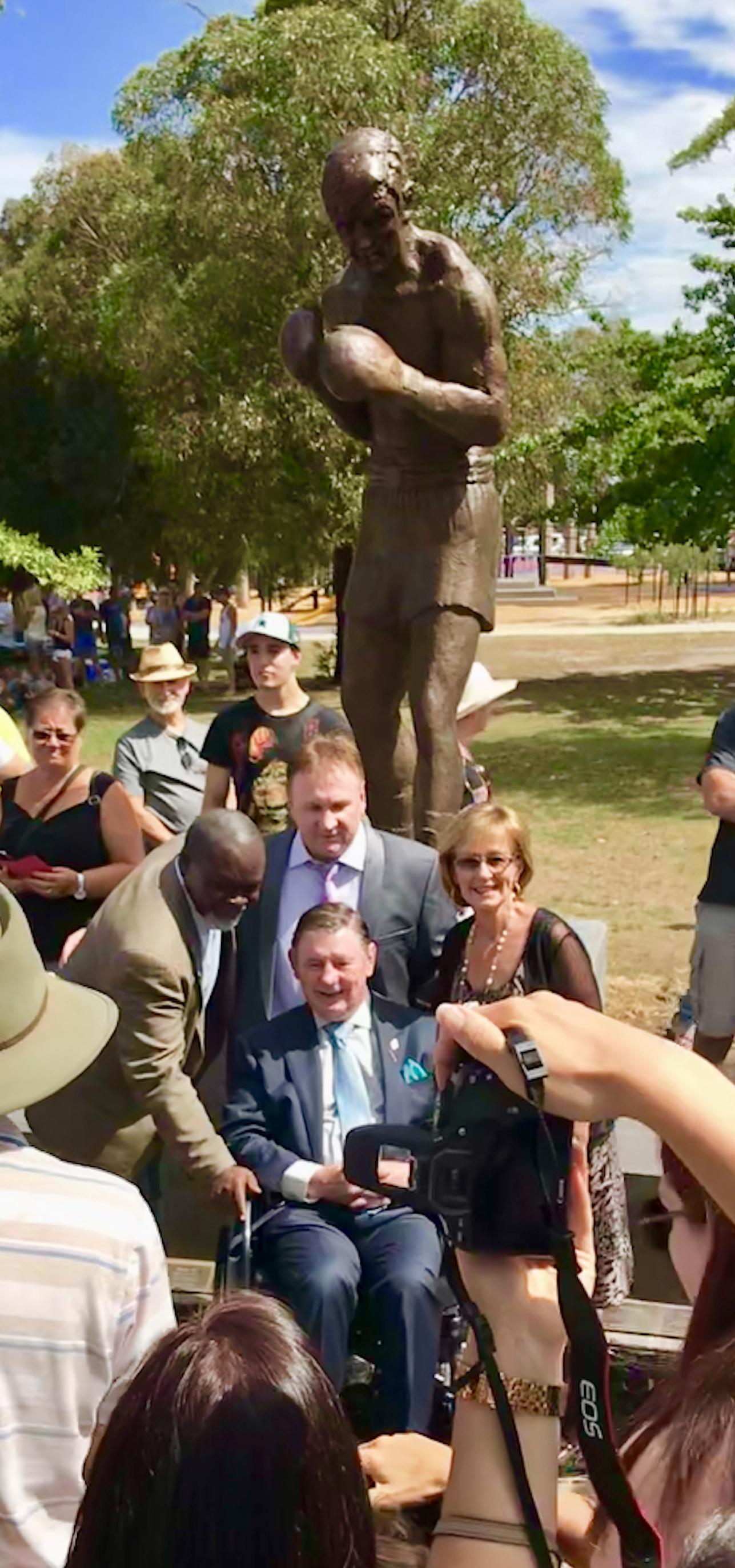 Unveiling of The Famous Sculpture with Johnny Famechon 2018 Frankston Council