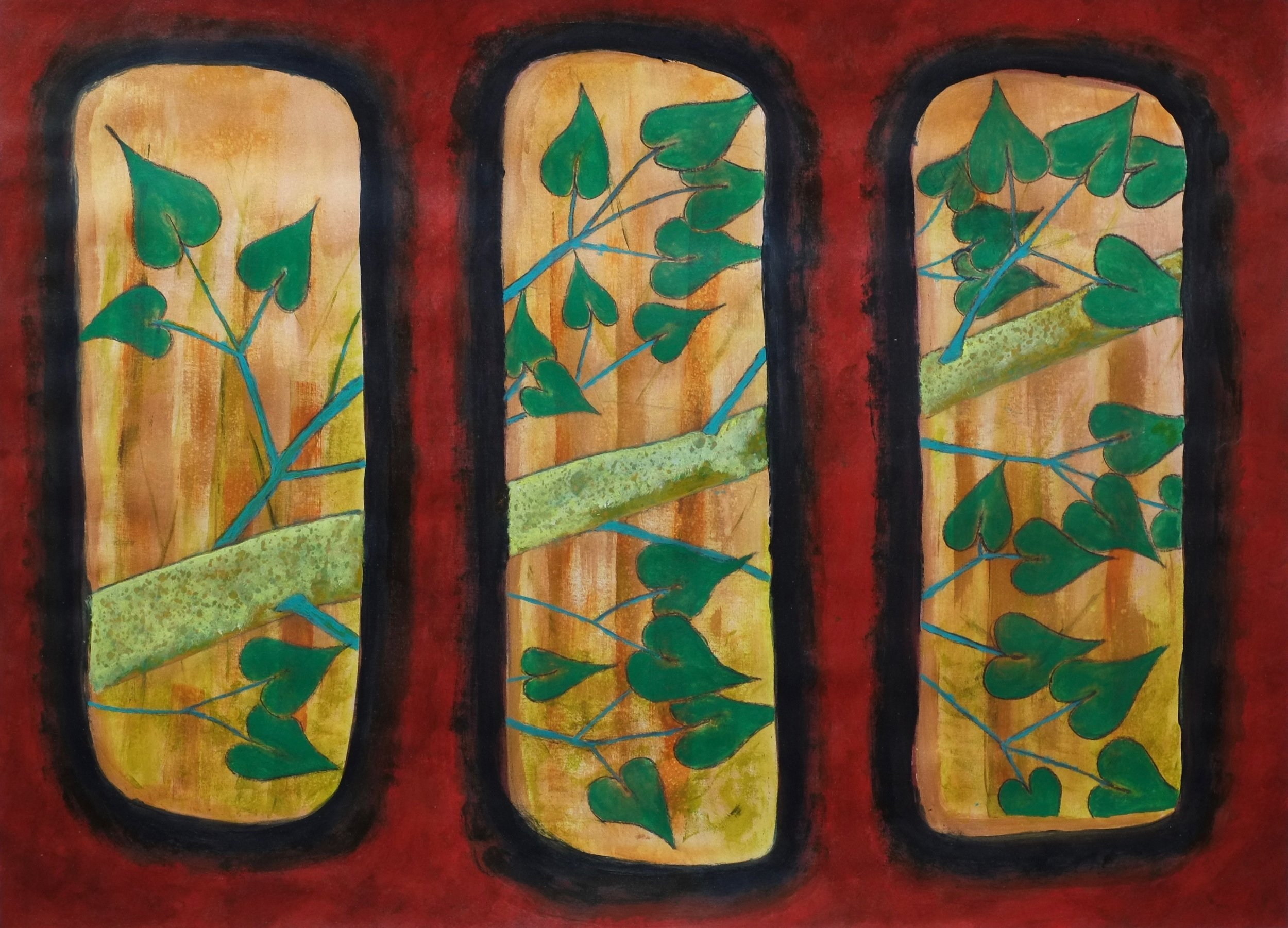 Porthole View    Can you imagine driving your submarine into a birch tree? Acrylic on Arches Watercolor Paper, 23X30in
