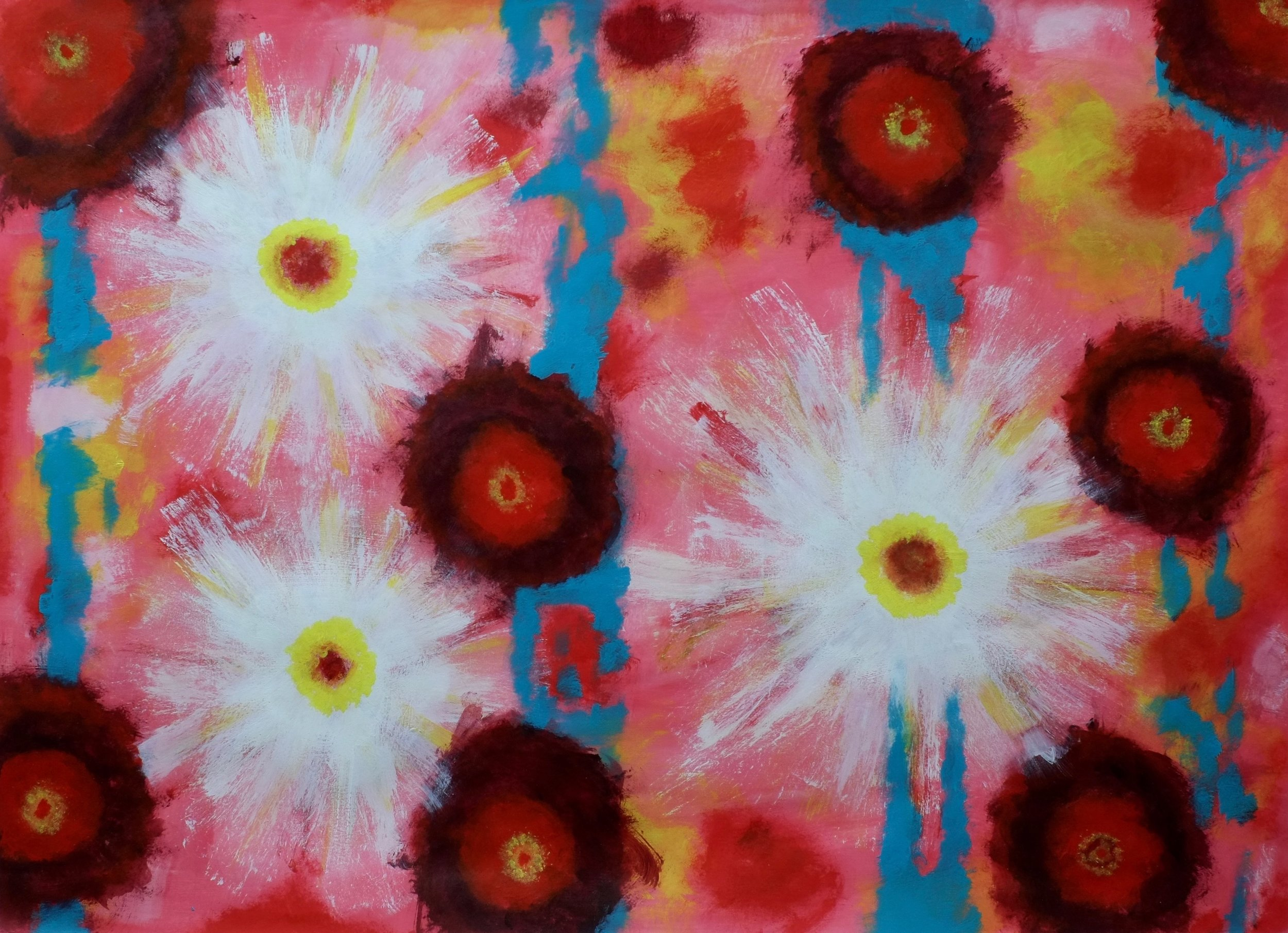 Bursts    Acrylic on Arches Watercolor Paper, 23X30in