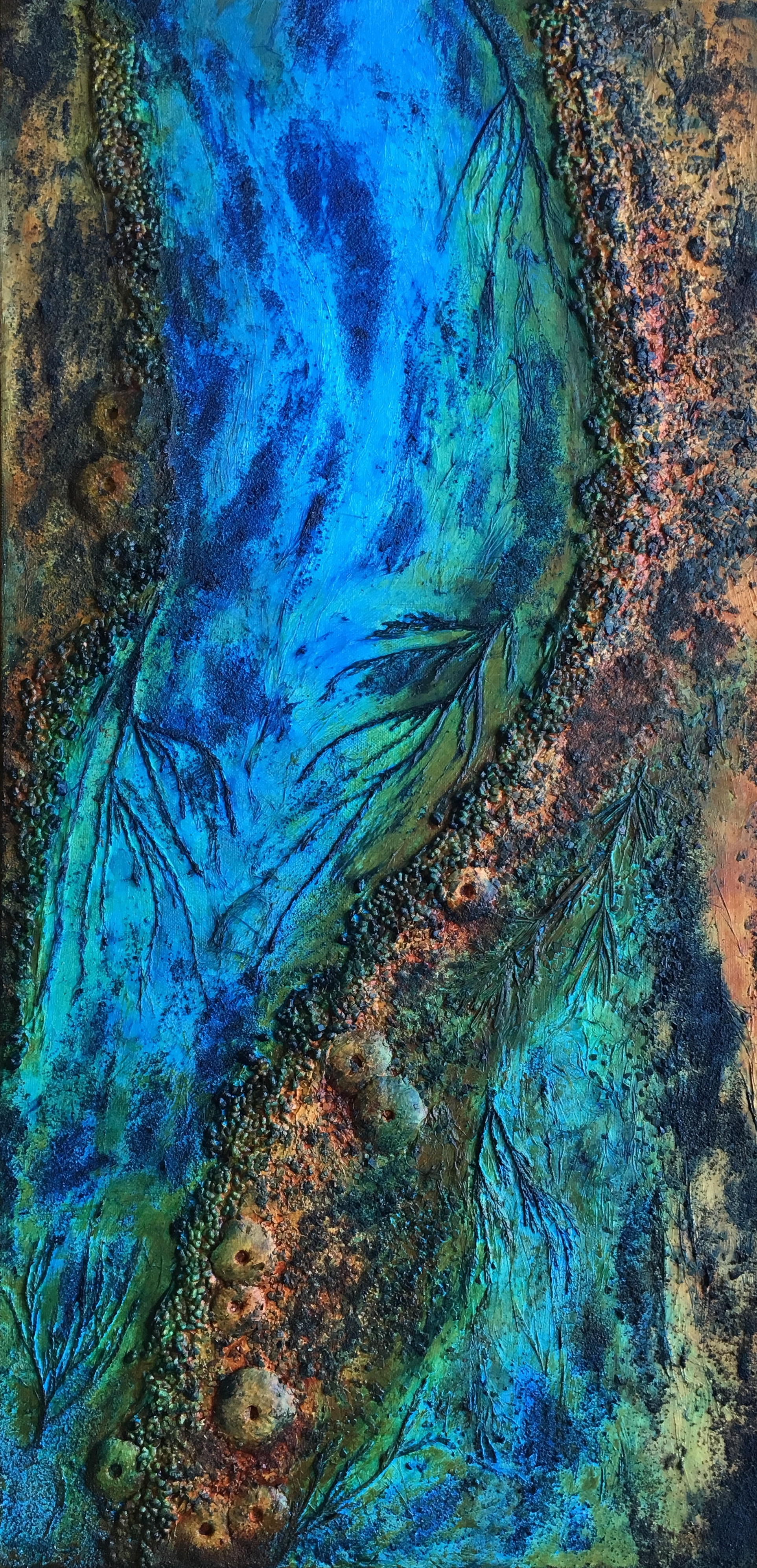 """30"""" x 15""""  Mixed media, featuring juniper and molded sea urchins.  Acrylic on canvas."""