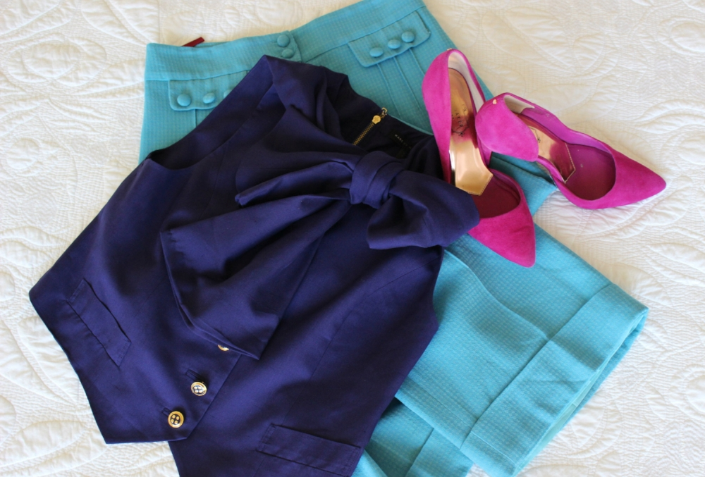 Pants have no label, blouse is Marc  by Marc Jacobs (both from Madison Rose) and shoes are Ted Baker