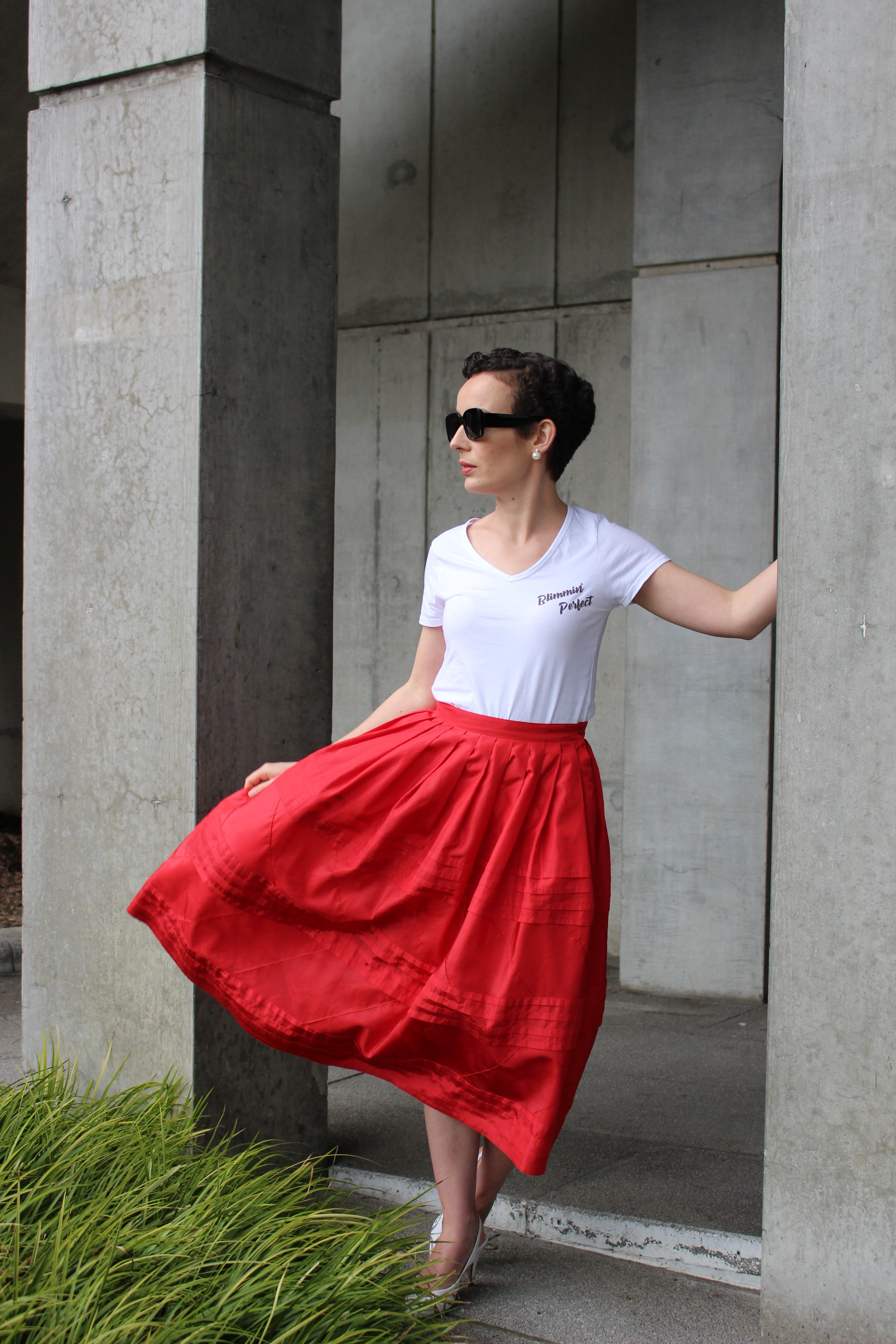 Y'all know I'm fancy, but even fancy ladies can rock a tshirt (the May tshirt is pictured here with a vintage silk skirt from Unearthed Vintage and vintage shoes)