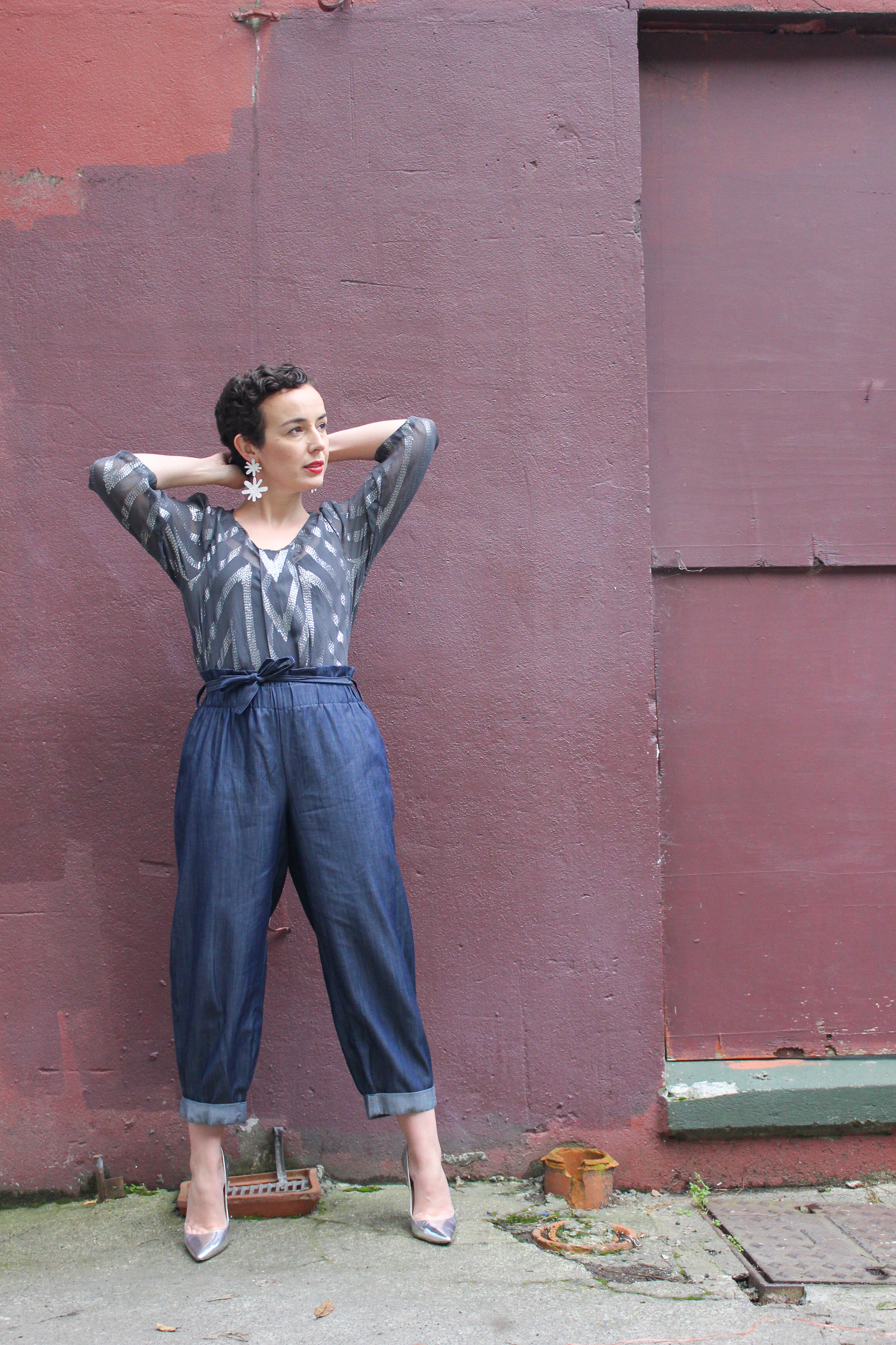 Desiree does a line of organic denim, which is what these pants are made of, that is to die for.   I loved the dressier effect of this denim and of course, this tiny gal loves a cropped leg.  These aren't in store yet but I think we should all peer pressure Desiree to get them on the rails STAT!