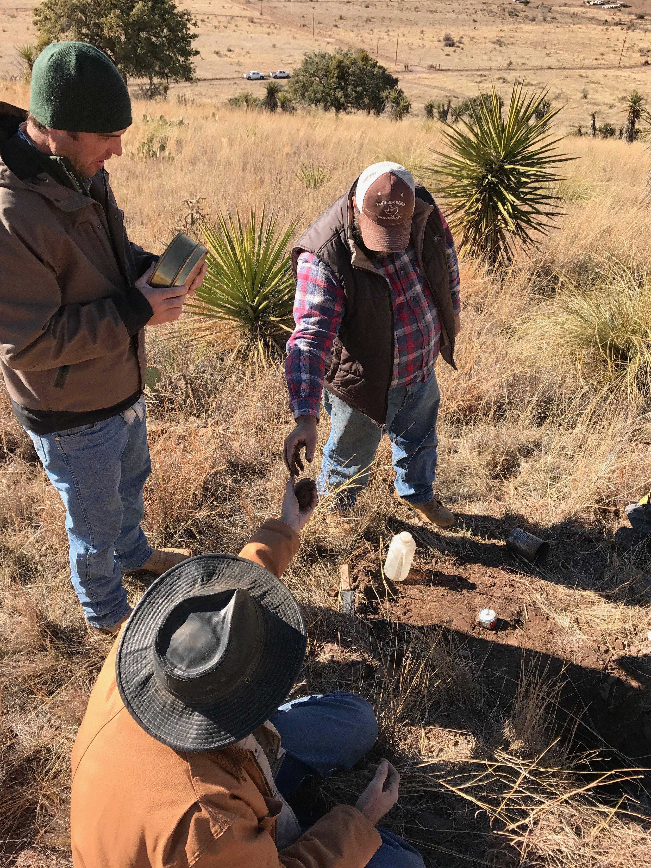 David Jalali, Will Juett and Lynn Loomis, soil scientists from the NRCS in Marfa, describing the soil at Alta Marfa.