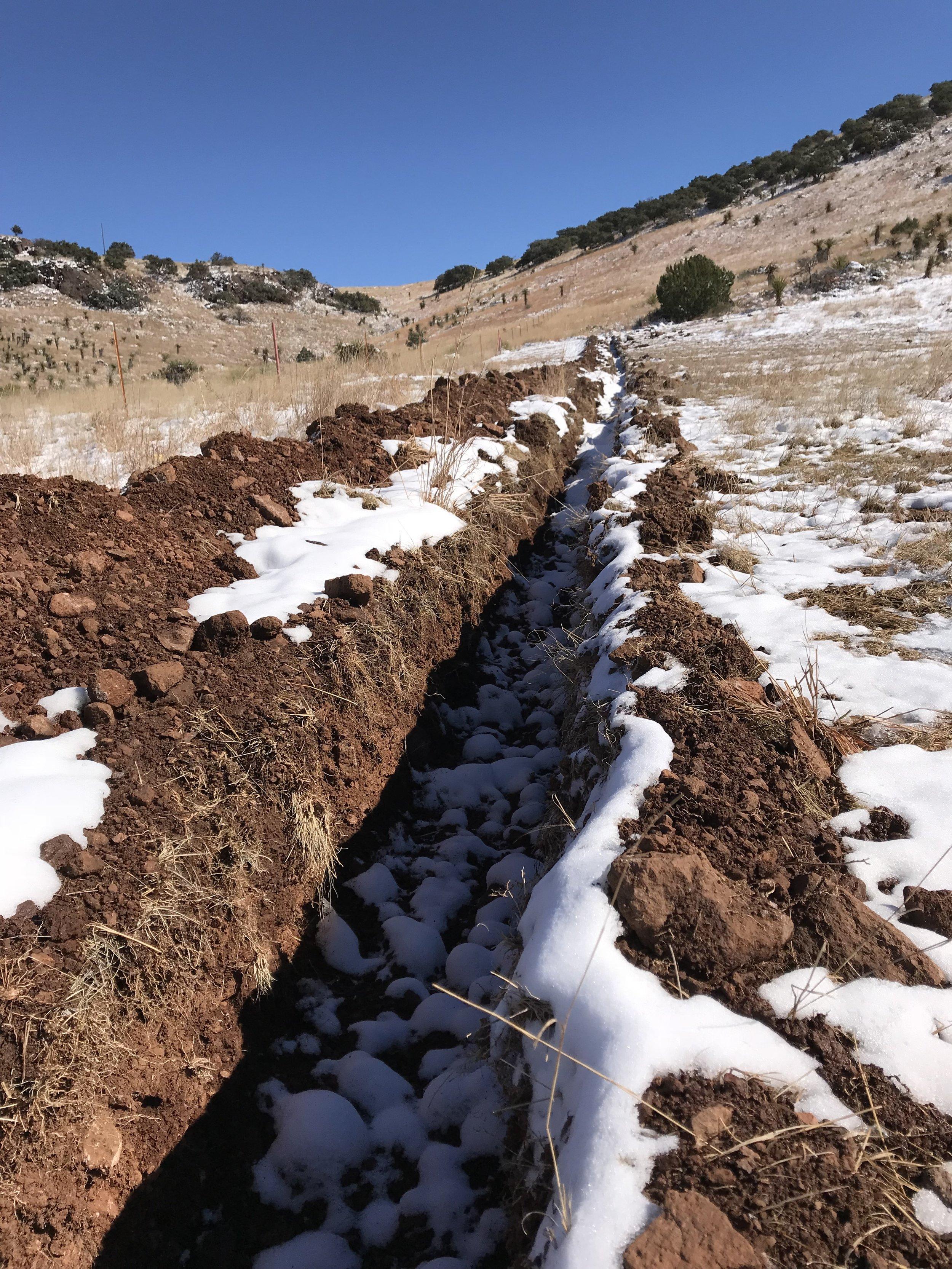 A snowy ditch.