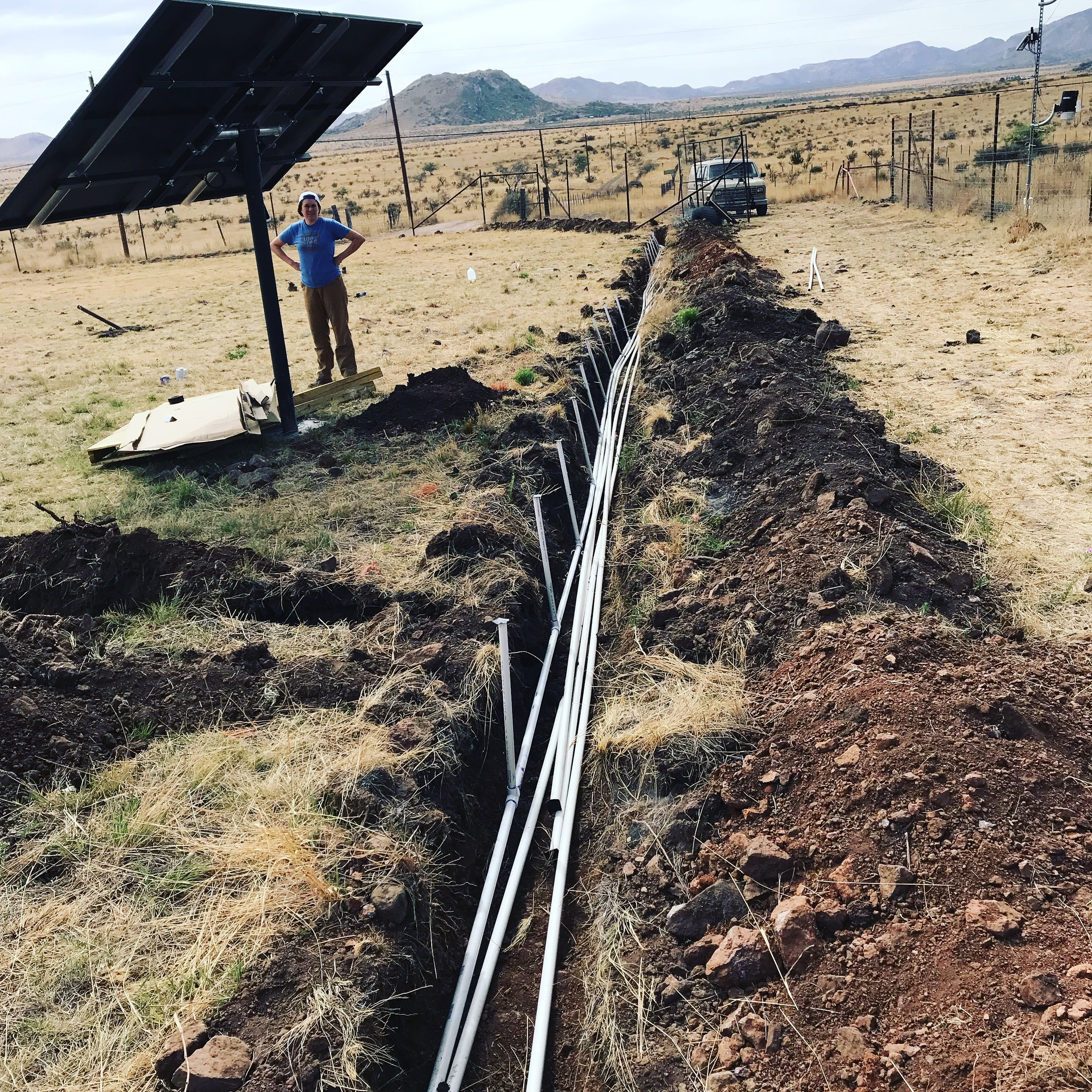 The ditch with all the PVC installed!