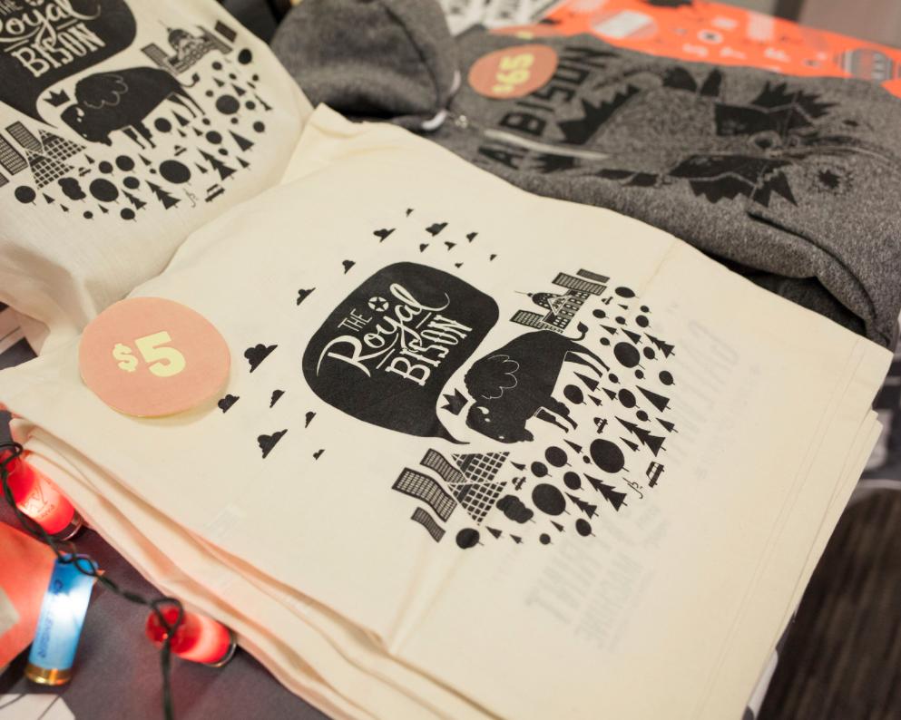 Artist-designed tote bag by Jason Blower.