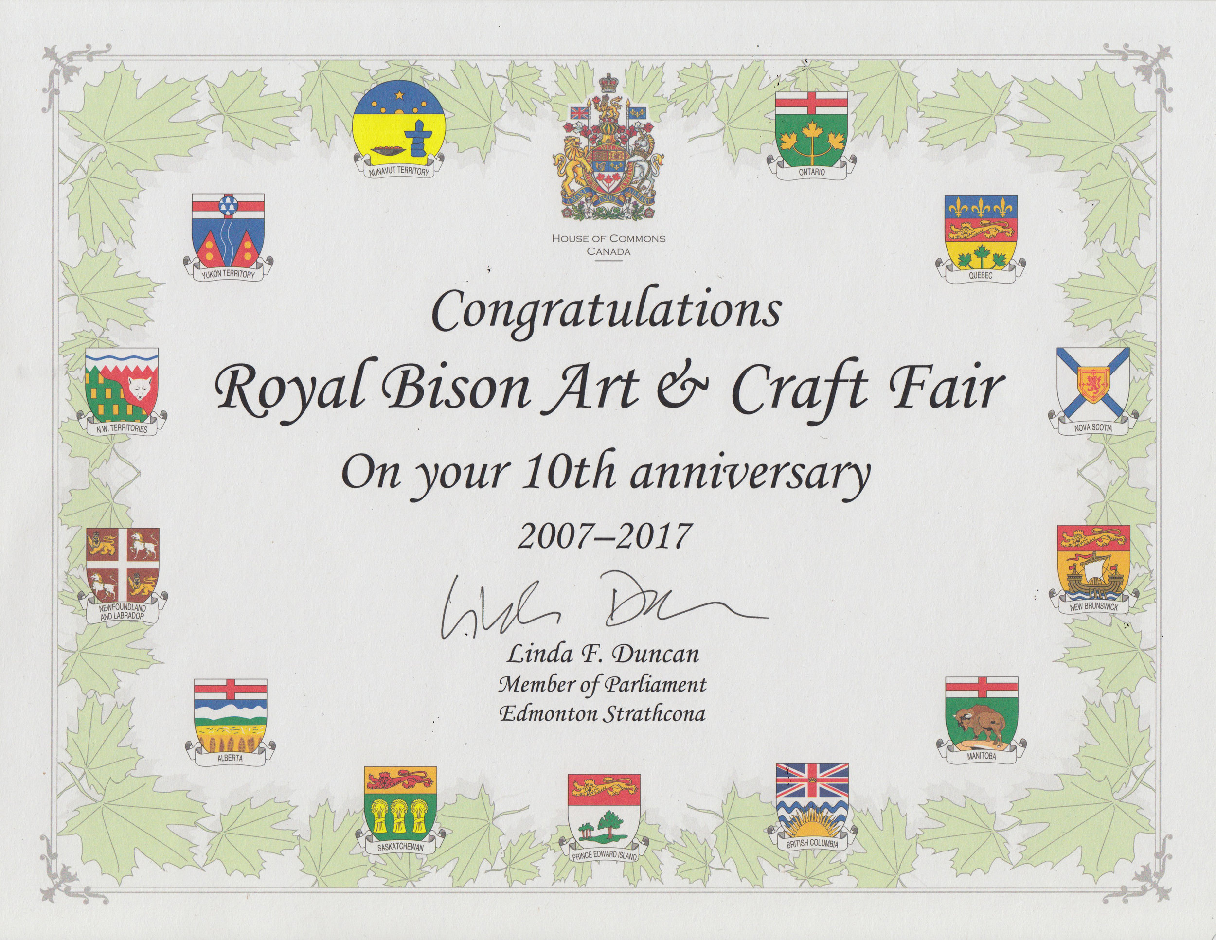 And thank you to MP Linda Duncan of Edmonton-Strathcona! We've seen you at the fair more than a few times!