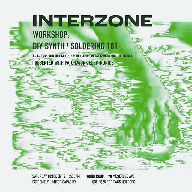 Really pleased to be running an intro to soldering workshop at @interzonefestivalnyc this week. Come build a Tiny TS synth with us! You get to take it home with you when you're done. Limited spots available - you can get tickets here:  https://www.residentadvisor.net/events/1332768