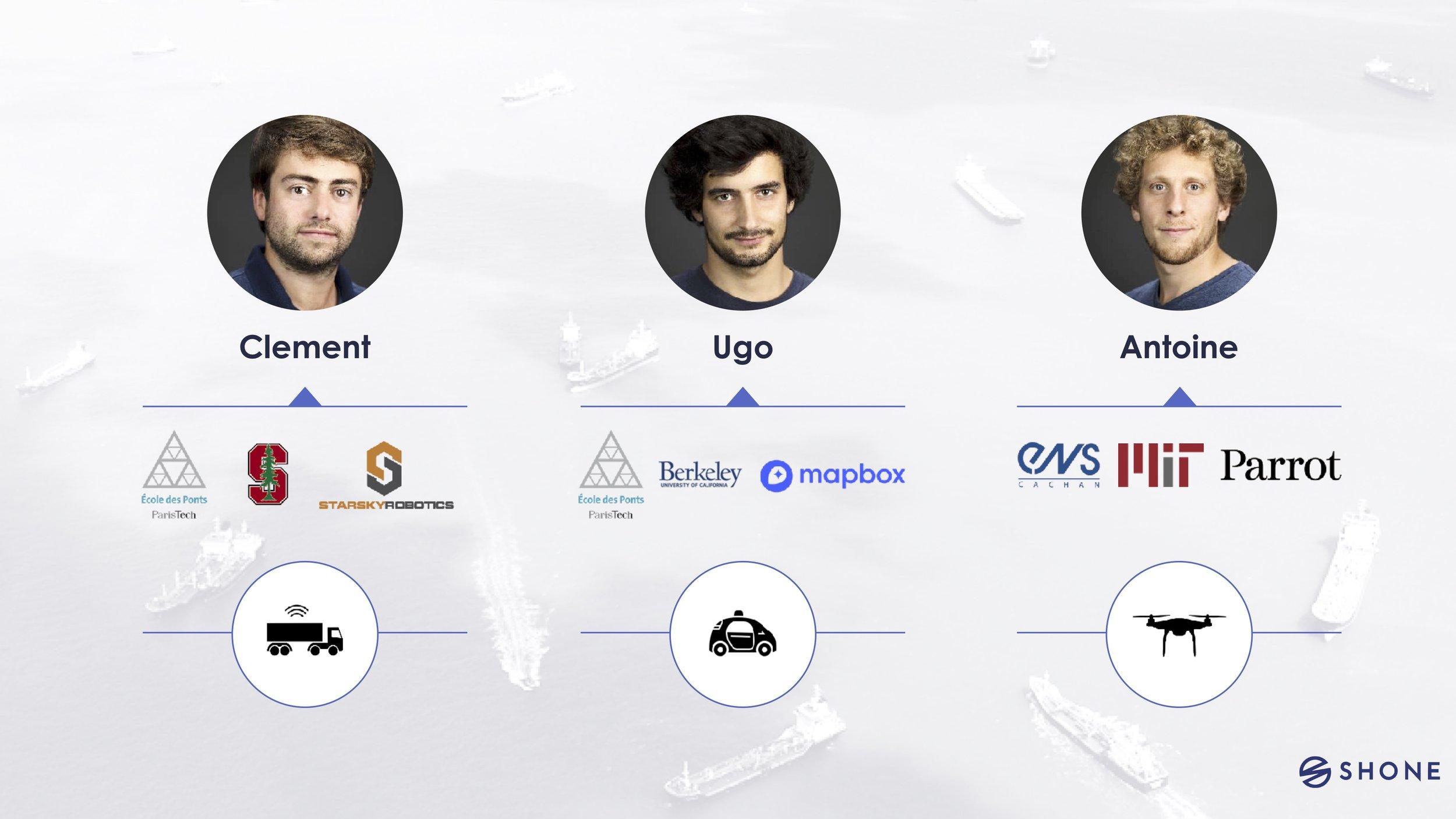 Co-founders of Shone: Clément Renault, Ugo Vollmer,Antoine De Maleprad