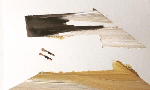 5 x 7 on paper | 2 sad birds | SOLD