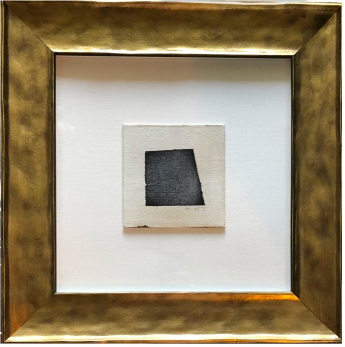 """acrylic, on canvas, custom framed, floating on linen     19.5"""" x 19.5""""     $725"""