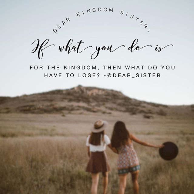 Dear Sister,  Some of us are holding back on the gifts God has given us. Some of us are stuck in our comfort zones when God has been trying to call you out. Sister, what are you waiting for? Girl, go! Set out on what God has called you to do. Go help the person God has instructor to guide. Yes, it whatever God has called you to do will require you to step out of your comfort zone, but if it's for the Kingdom, then what do you honestly have to lose?  Love you!