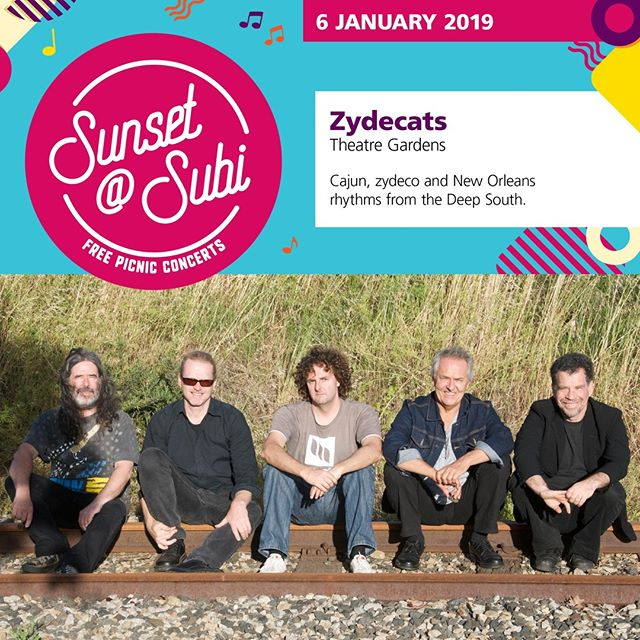 Swing into 2019 with the Zydecats at the City of Subiaco sunset@subi concert this afternoon from 5-7pm. Featuring double Grammy Award winning musician Lucky Oceans, the Zydecats are a music institution in Western Australia and perform a diverse repertoire of genres, including Cajun, Zydeco, Country, Blues, Swing, Soul, Rockabilly, New Orleans Rhythm & Blues and Rock n Roll. So join @spirit_events_entertainment for an unmissable afternoon of good music as the sun sets over Theatre Gardens. . . . #spiritevents #pertheventmanagement #pertheventmanager #perthevents #sunsetsubi #subi #theatregardens #zydecats #freemusic #freeconcert #eatdrinkperth #cityofsubiaco