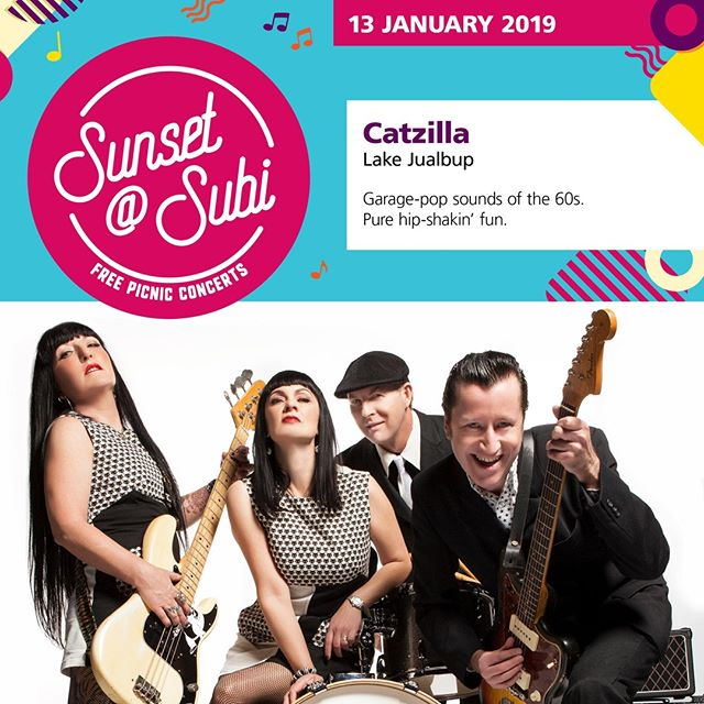 Shimmy and shake to the garage sounds of the 60s when @catzillaband this Sunday at Lake Jualbup thanks to the City of Subiaco's free sunset@subi summer concert series. . . . #Spiritevents #pertheventmanagement #pertheventmanager #cityofsubiaco #cityofsubi #subiaco #lakejualbup #catzilla #sunsetatsubi #sundaysession #sundaysesh #whatsonperth #eatdrinkperth