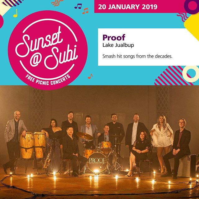 Bring your family & friends for an afternoon of fun when Perth's premier party band, @prooftheband , hits the stage for the City of Subiaco's free sunset@subi summer concert series this Sunday 20 at Lake Jualbup. Performing a diverse range of smash hit songs from the decades, Proof will have you out of your seat and singing along to songs you know and love. ⠀ .⠀ .⠀ .⠀ #Spiritevents #pertheventmanagement #pertheventmanager #cityofsubiaco #cityofsubi #subiaco #lakejualbup #catzilla #sunsetatsubi #sundaysession #sundaysesh #whatsonperth #eatdrinkperth⠀ ""