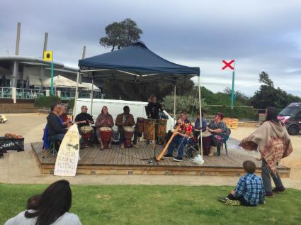 An energetic drumming performance by Djeme Movement Australia.