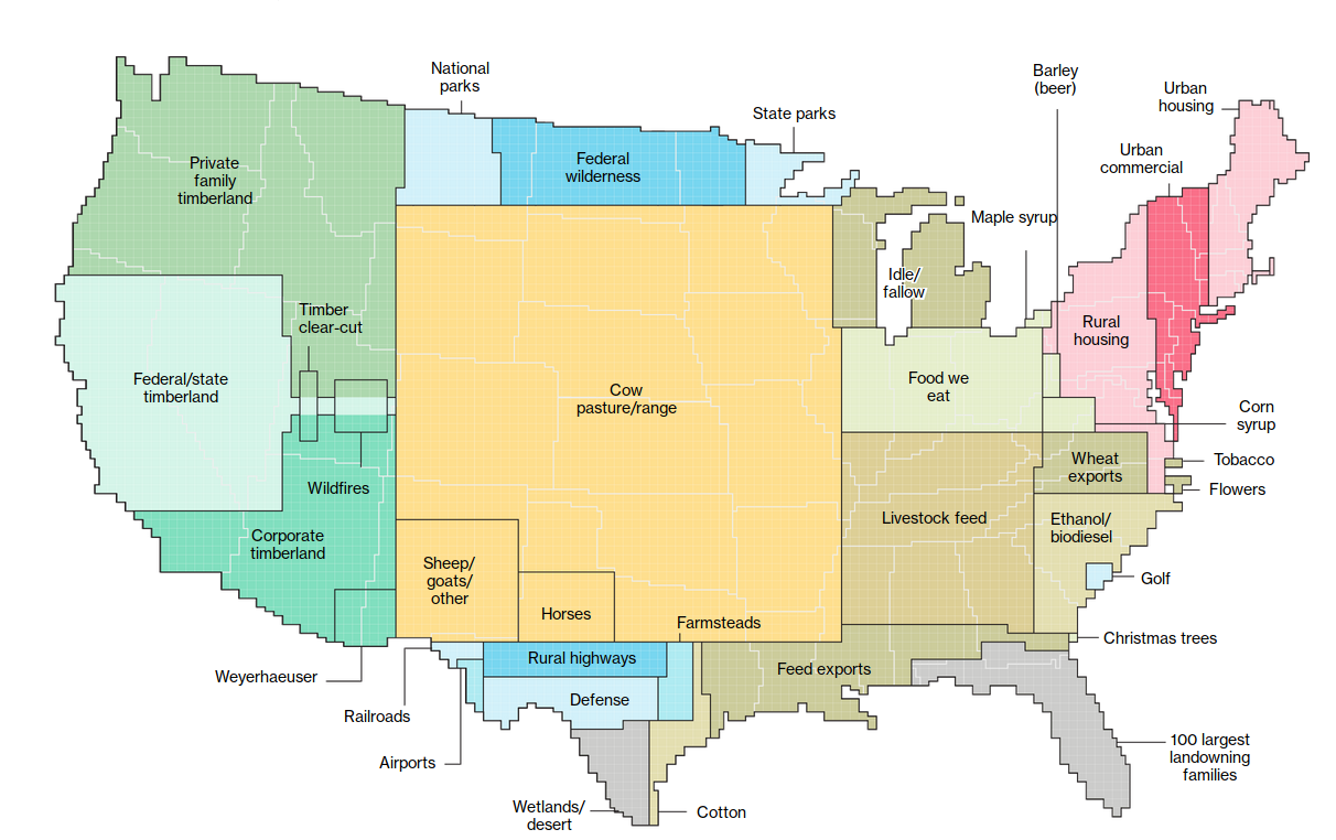 Map of animal agriculture land use in United States