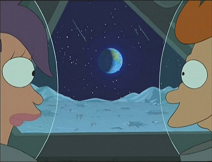 'The Series has Landed', Futurama , series 1, episode 2, original air date 4th April 1999.