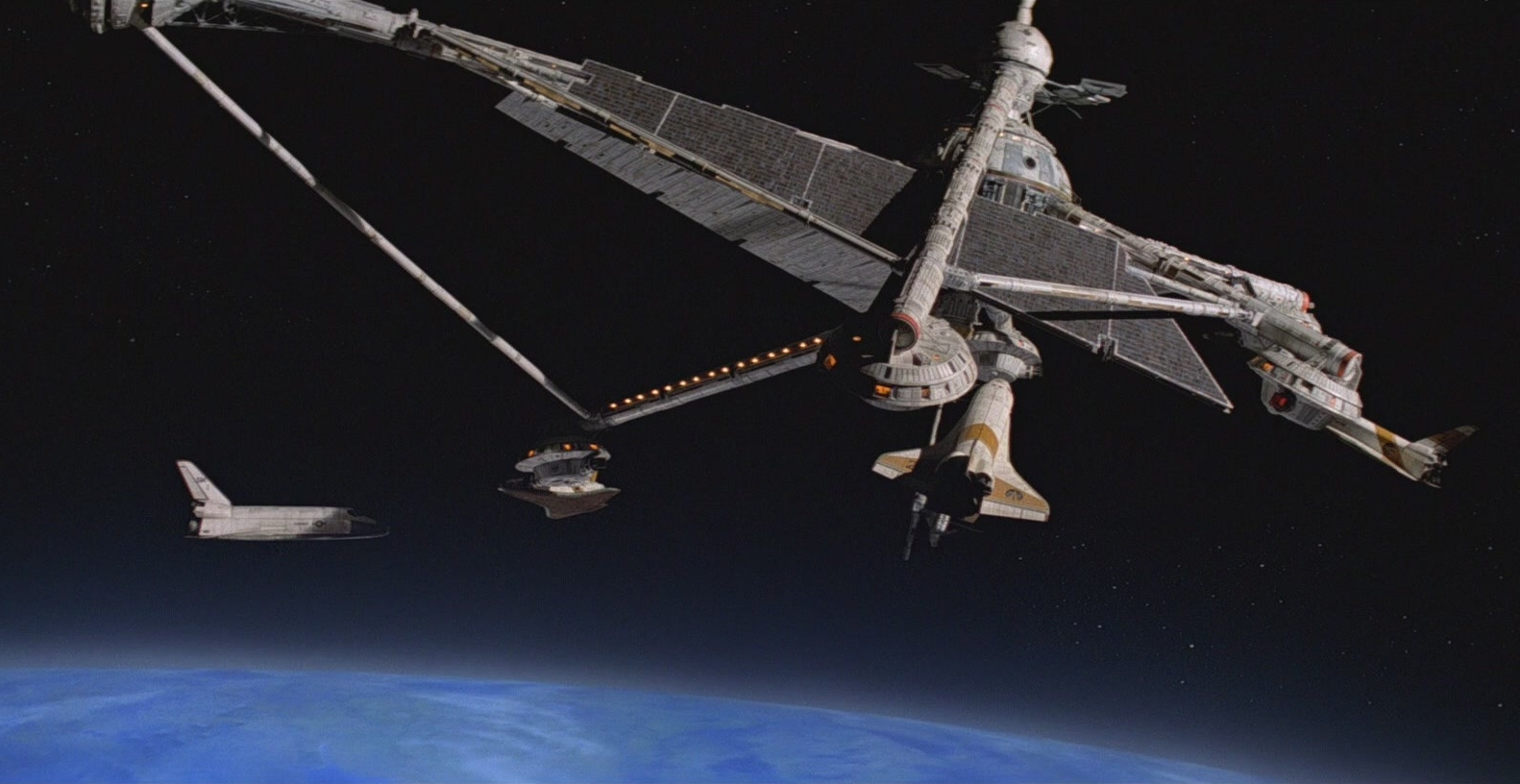 Moonraker , 1979, film still showing Hugo Drax's space station, dir. Lewis Gilbert.