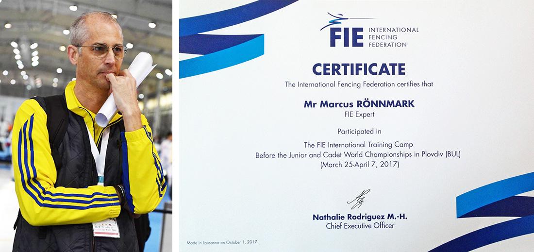 Marcus blev 2017 anlitad av Internationella Fäktförbundet (FIE) som ansvarig fäktmästare för  FIE International Fencing Training Camp , i samband med kadett- och junior VM i Bulgarien. Marcus var även coach under tävlingarna för team FIE, vilket hade stora framgångar.