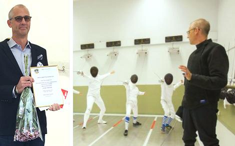 """2016 blev Marcus Rönnmark utsedd till  Årets Idrottsledare på Lidingö  för sina insatser med Lidingö Fäktklubbs barn- och ungdomsverksamhet, som bidrar till att våra barn och ungdomar får en meningsfull och nyttig fritid. """"Det är ett erkännande både för mig och för föreningen! Även om jag är den som startade föreningen och varit drivande, så är det många som har bidragit till den här utmärkelsen"""", säger Marcus."""