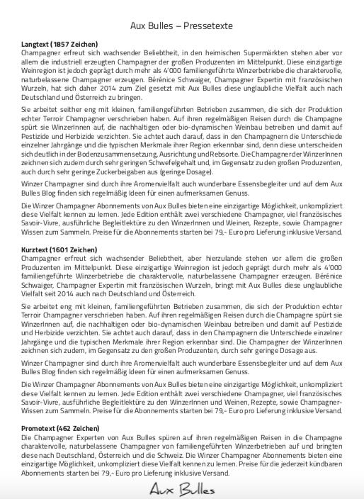 Pressetext und Philosophie von Aux Bulles und den Champagner Abonnements  (Klick auf das Bild öffnet ein PDF)
