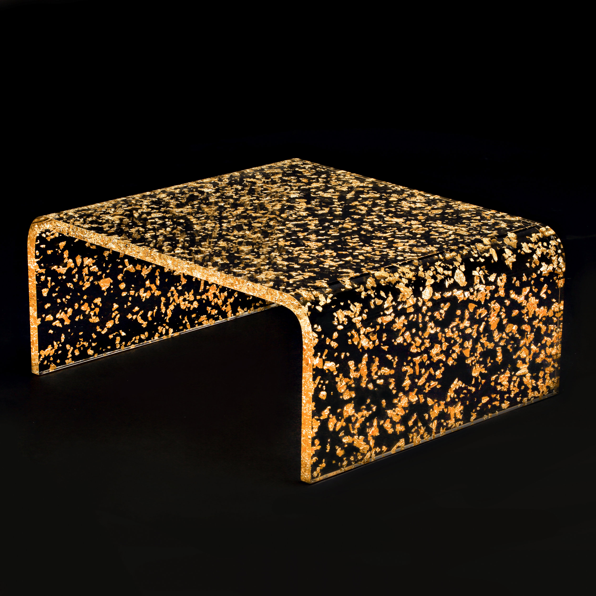 GOLD AND ACRYLIC GLASS TABLE  Price On Enquiry