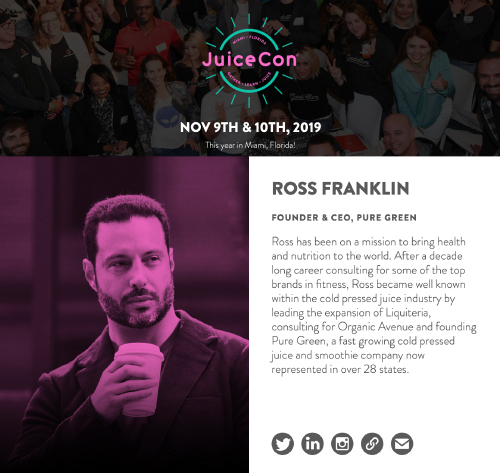 Ross Franklin, The King of Juice, speaking at Juice Con 2019 in Miami Florida