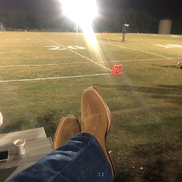 Six man football and a fresh set of @red_shahan rooster laden @tonylamaboots.  Tall cotton as far as I can see.