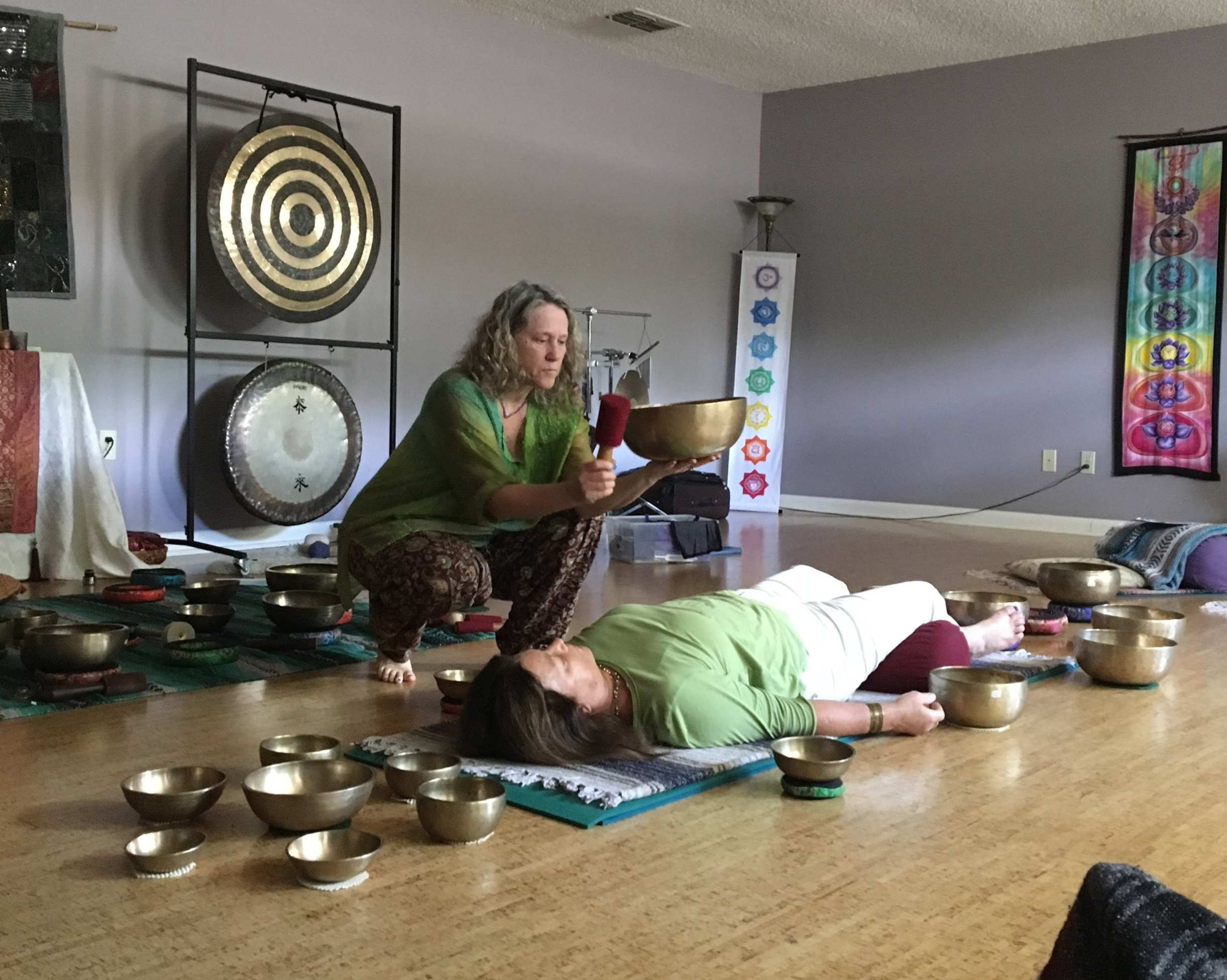 Giving a demo sound session -Healing With Tibetan Singing Bowls workshop- Tallahassee, FL 2019