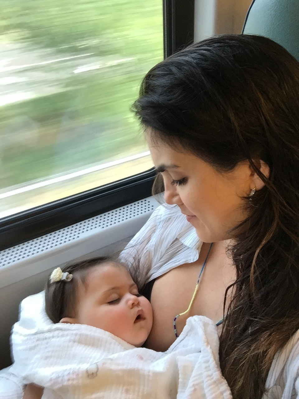 The window seat is best for mom and baby.