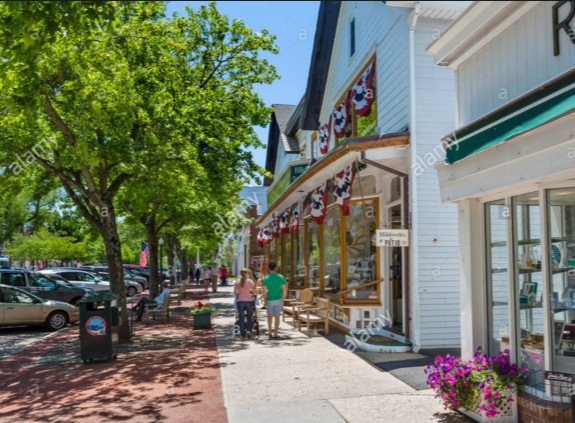Main street is perfect for walks with stroller.