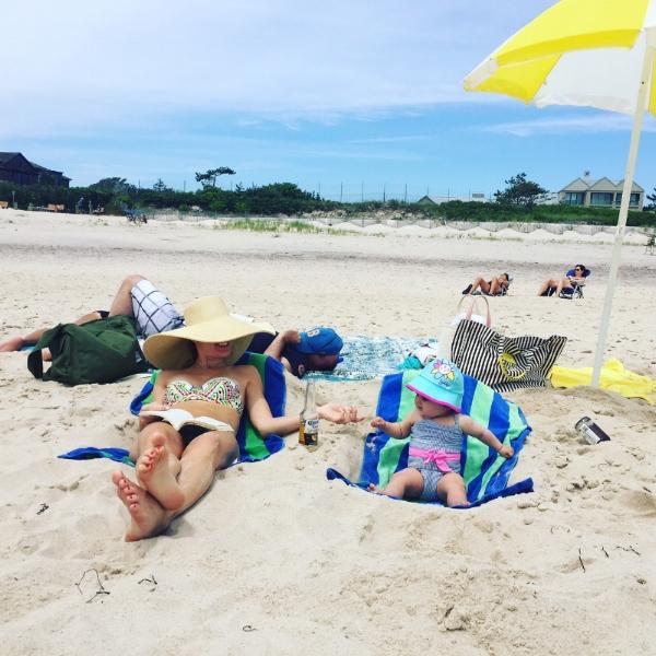 Karina enjoying a laid back Southampton beach day.