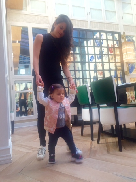 Karina testing out her Nikes at Cafe Medi