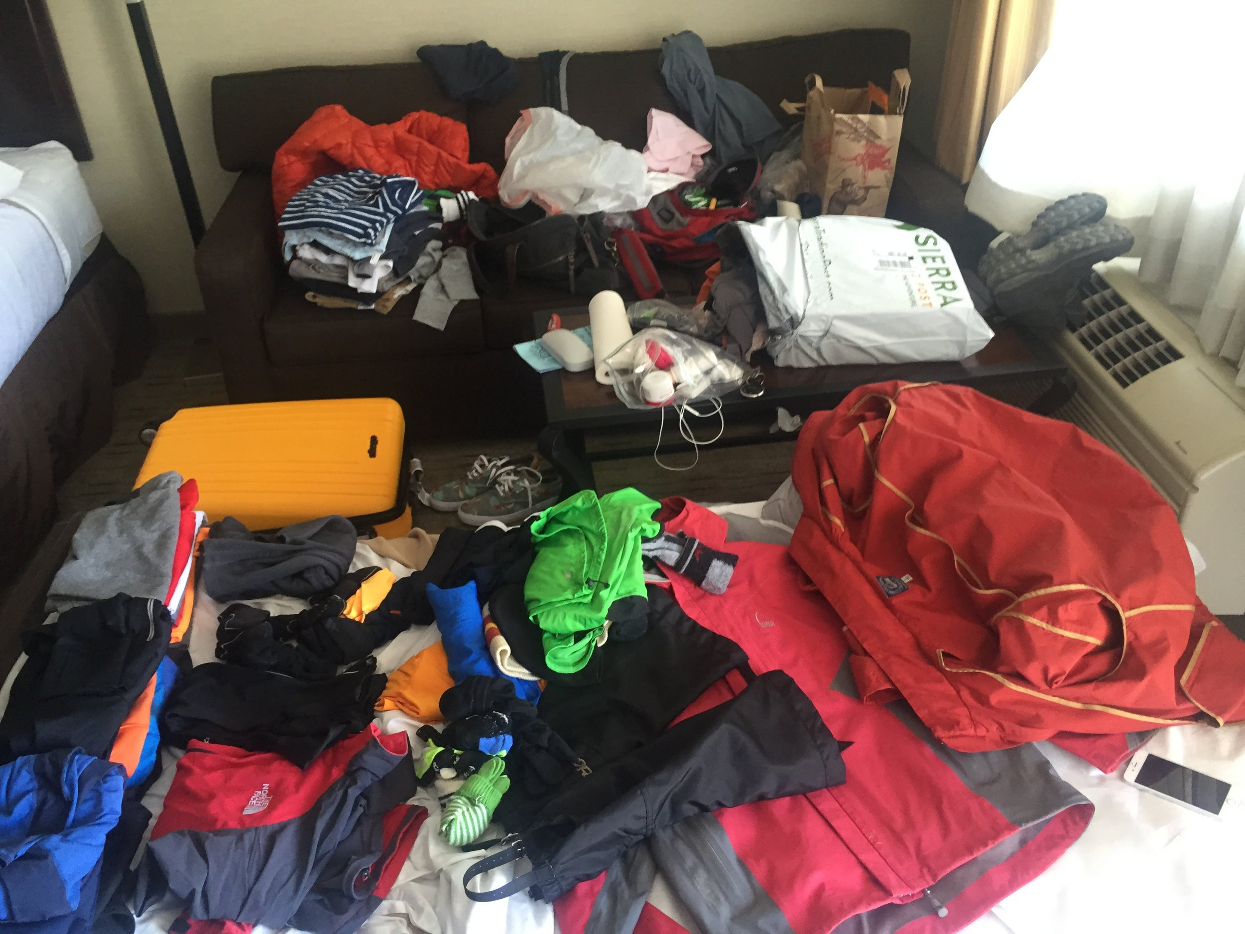 Some of the stuff we packed. We overpacked by a lot. If you're going for a day summit, heavily consider what to bring and what to leave behind.